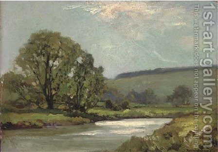 A river landscape by James Aumonier - Reproduction Oil Painting