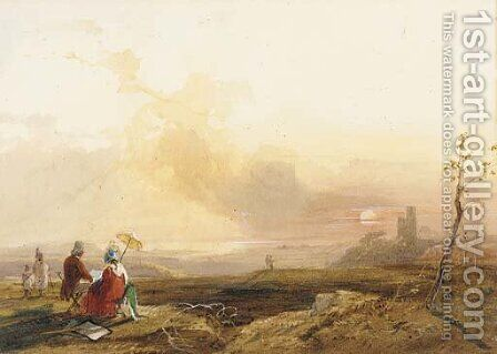 Figures sketching in a sunset landscape by James Baker Pyne - Reproduction Oil Painting