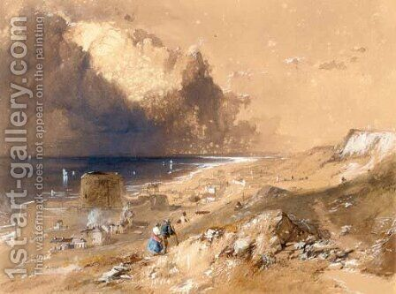 Figures walking on the cliffs above Sandgate, Kent by James Baker Pyne - Reproduction Oil Painting