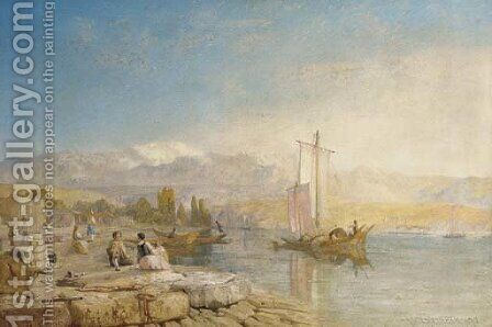 Figures by an Italianate lake by James Baker Pyne - Reproduction Oil Painting