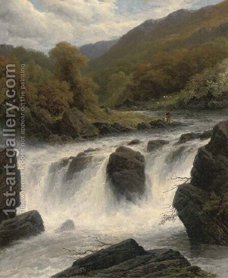 Anglers by a waterfall by James Burrell Smith - Reproduction Oil Painting