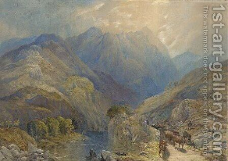Cows in a mountainous landscape by James Burrell Smith - Reproduction Oil Painting