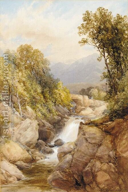 Figures on a bridge beside a waterfall by James Burrell Smith - Reproduction Oil Painting
