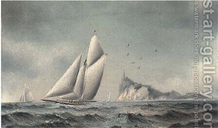Big cutters reaching off an island by James C. Bourne - Reproduction Oil Painting