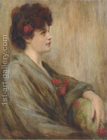 Portrait of Lida Rose McCabe by James Carroll Beckwith - Reproduction Oil Painting