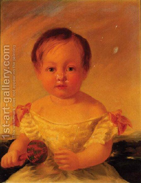 Portrait of the artist's daughter, Elizabeth Caroline Chapman aged 2 by James Chapman - Reproduction Oil Painting