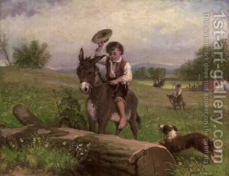The stubborn donkey by James Cole - Reproduction Oil Painting