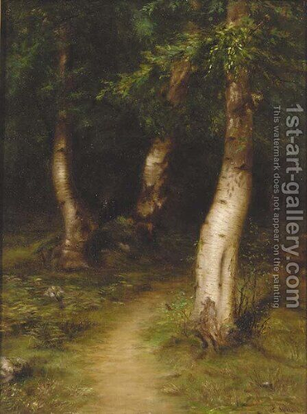 A glade in a birch wood by James Coutts Michie - Reproduction Oil Painting