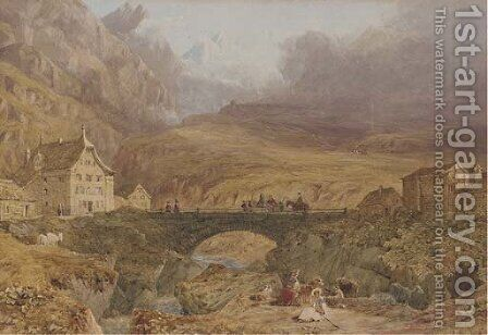 A view in the Bernese Oberland by James Duffield Harding - Reproduction Oil Painting