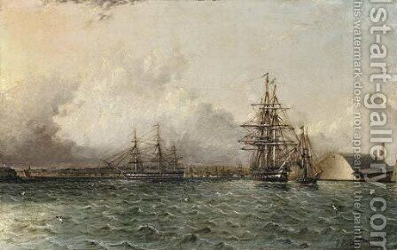 An American 74 Gun Ship by James E. Buttersworth - Reproduction Oil Painting