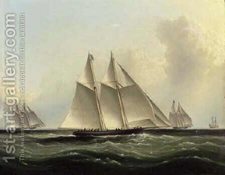 The Great Ocean Race, 'Henrietta,' 'Fleetwing' and 'Vesta' by James E. Buttersworth - Reproduction Oil Painting
