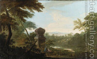 An Italianate wooded river Landscape, with figures in the foreground beside a tomb by James Forrester - Reproduction Oil Painting