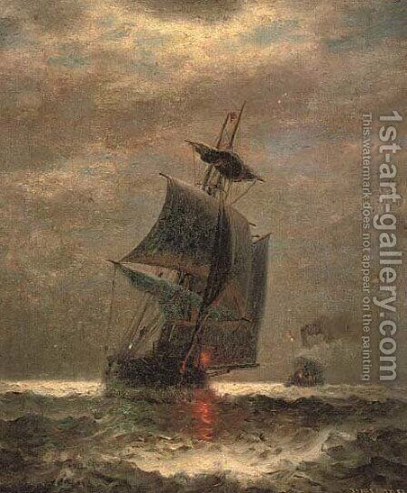 Evening, running through choppy waters by James Gale Tyler - Reproduction Oil Painting