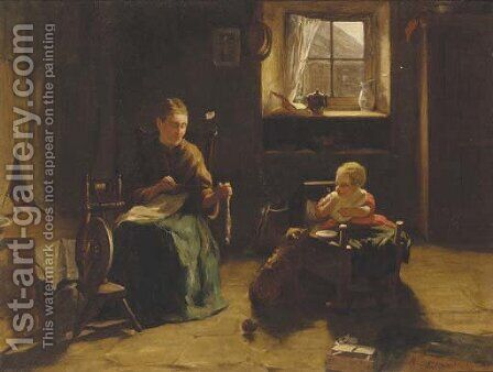 A mother and child in an interior by James Hamilton - Reproduction Oil Painting