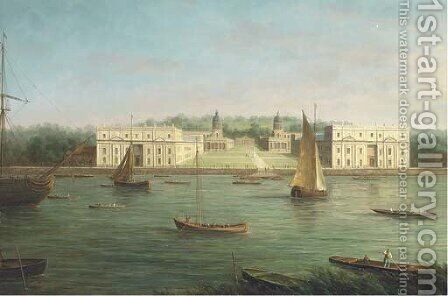 A view of Greenwich Naval College from across the Thames by James Hardy Jnr - Reproduction Oil Painting