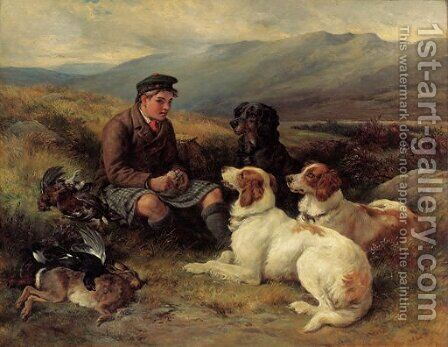The midday meal on the moors by James Hardy Jnr - Reproduction Oil Painting