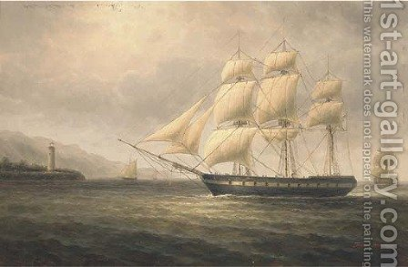 Warships off the coast by James Hardy Jnr - Reproduction Oil Painting