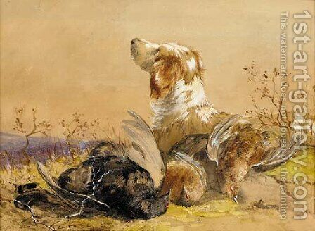 A gun dog with the day's bag by James Hardy Jnr - Reproduction Oil Painting