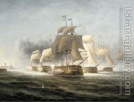 A Naval engagement off the Dutch coast by James Hardy Jnr - Reproduction Oil Painting