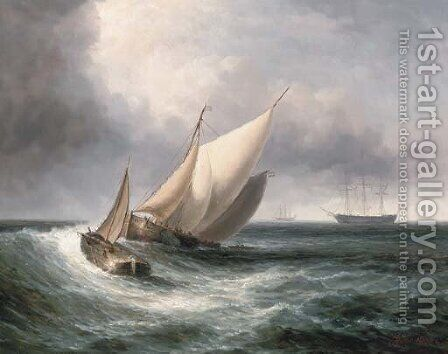 Dutch barges in choppy waters by James Hardy Jnr - Reproduction Oil Painting