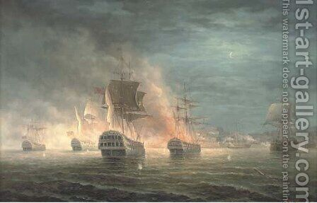 The bombardment of Algiers by James Hardy Jnr - Reproduction Oil Painting