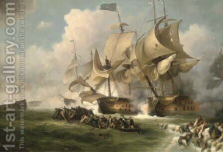The Glorious First of June, 1794 2 by James Hardy Jnr - Reproduction Oil Painting