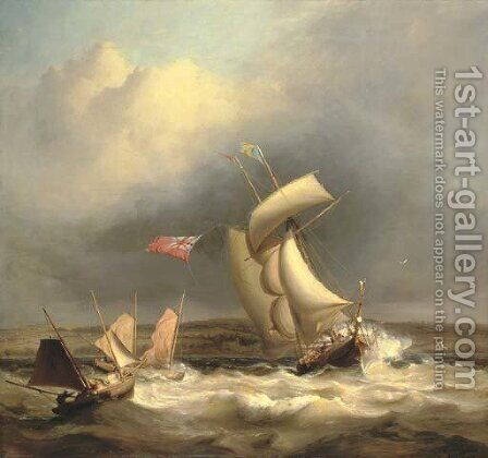 A topsail schooner and two Swansea luggers caught in a sudden squall off the South Wales coast by James Harris of Swansea - Reproduction Oil Painting