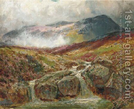 The mountain stream by James Henry Crossland - Reproduction Oil Painting