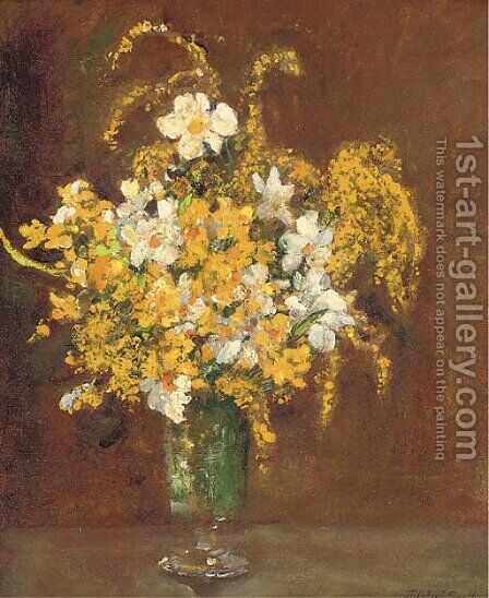 Mimosa in a vase by James Herbert Snell - Reproduction Oil Painting