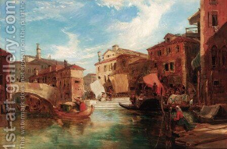 Gondolas by a market, Venice by James Holland - Reproduction Oil Painting