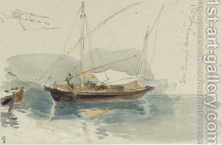 Study of a Mediterranean xebec by James Holland - Reproduction Oil Painting