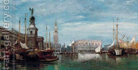 Doge's Palace and the Dogana, Venice by James Holland - Reproduction Oil Painting