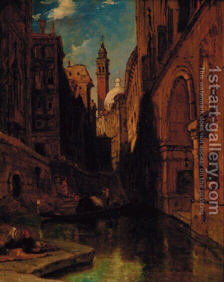 The back of the Malipiero Palazzo, Venice by James Holland - Reproduction Oil Painting