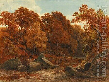 A quiet pool on the Llugwy by James Jackson Curnock - Reproduction Oil Painting