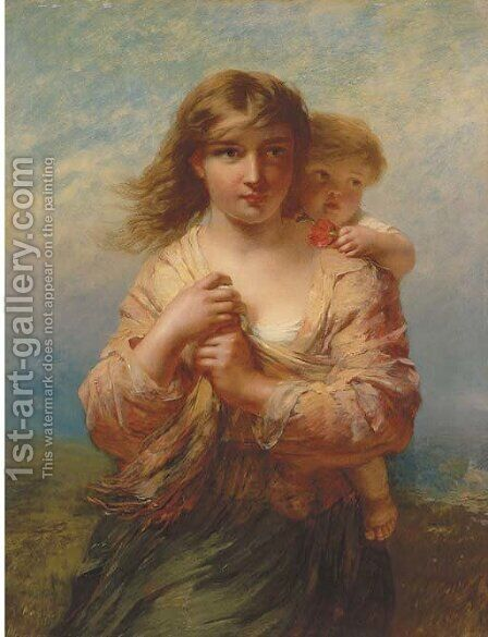 Mother and Child 2 by James John Hill - Reproduction Oil Painting