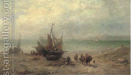 Unloading the day's catch by James John Hill - Reproduction Oil Painting