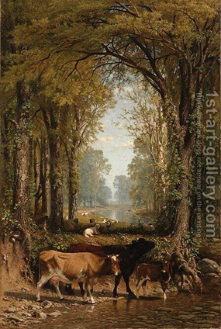 Cows and Sheep by a Stream by James McDougal Hart - Reproduction Oil Painting