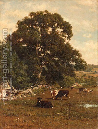 Cows in a Pasture by James McDougal Hart - Reproduction Oil Painting