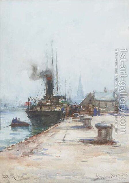Ayr Harbour by James MacMaster - Reproduction Oil Painting