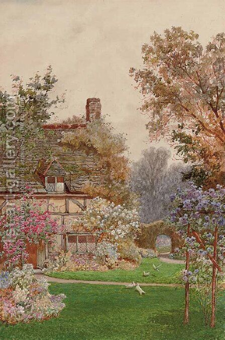A garden in Egdean, Sussex by James Matthews - Reproduction Oil Painting