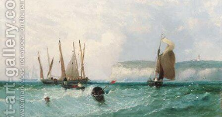 Herring Boats off Flamborough Head by James Edwin Meadows - Reproduction Oil Painting