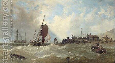 Fishing vessels off the south coast by James Sen Meadows - Reproduction Oil Painting