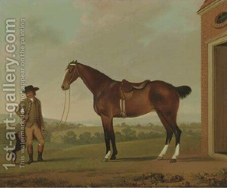 A Groom holding a Saddled Hunter outside a Stable with a Terrier by James Millar - Reproduction Oil Painting