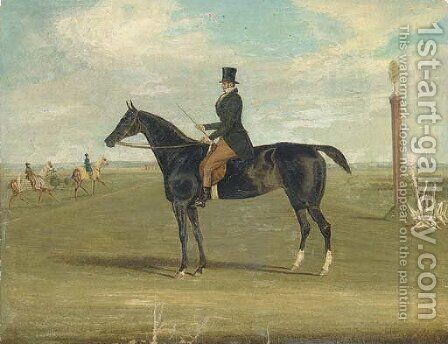 A black racehorse with a trainer up, with horses being exercised beyond by James Pollard - Reproduction Oil Painting