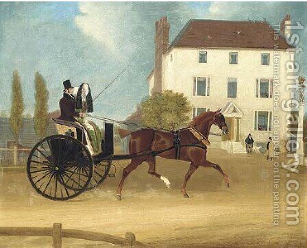A gig passing The Eagle, Snaresbrook by James Pollard - Reproduction Oil Painting