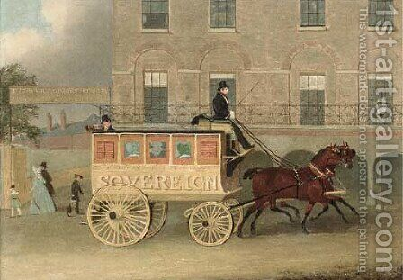 The Holloway and Bank omnibus, the Sovereign by James Pollard - Reproduction Oil Painting