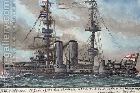 H.M.S. Africa (illustrated) by James Scott Maxwell - Reproduction Oil Painting