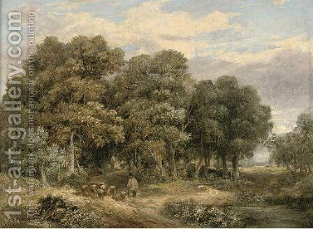 A drover and his flock in a wooded landscape by James Stark - Reproduction Oil Painting