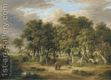 A wooded landscape with figures on a track, a cottage beyond by James Stark - Reproduction Oil Painting