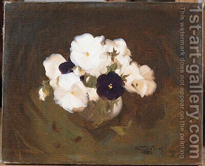White and Purple Violas by James Stuart Park - Reproduction Oil Painting
